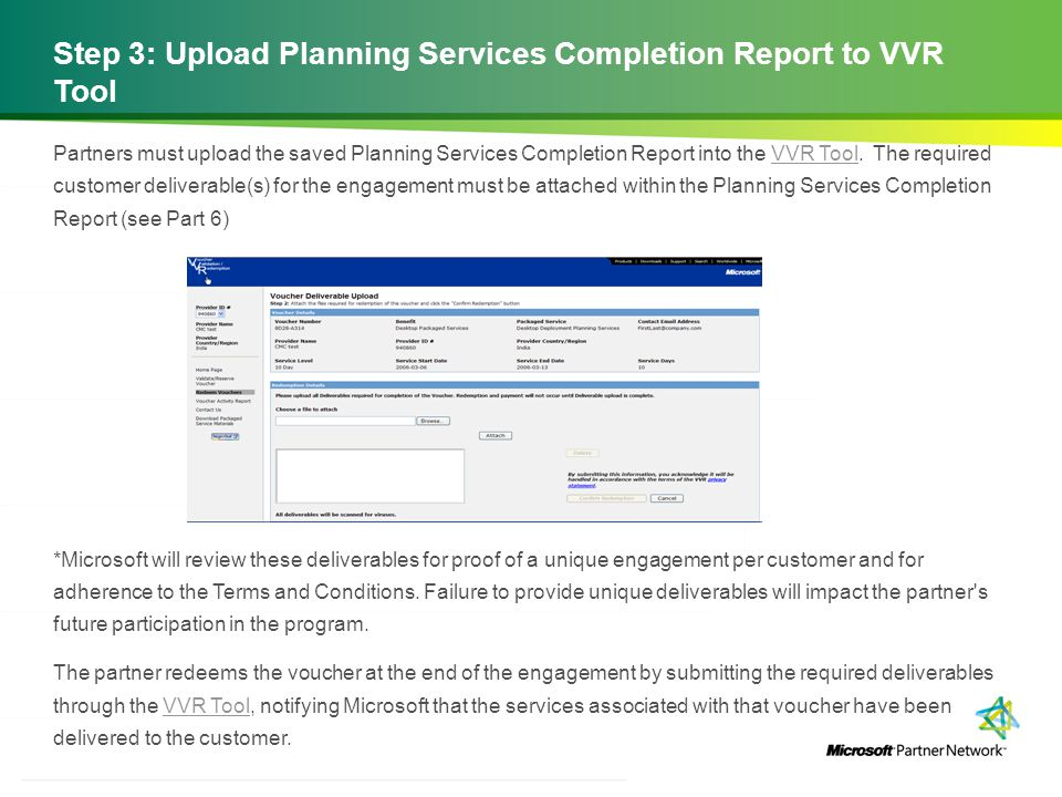 Step 3: Upload Planning Services Completion Report to VVR Tool
