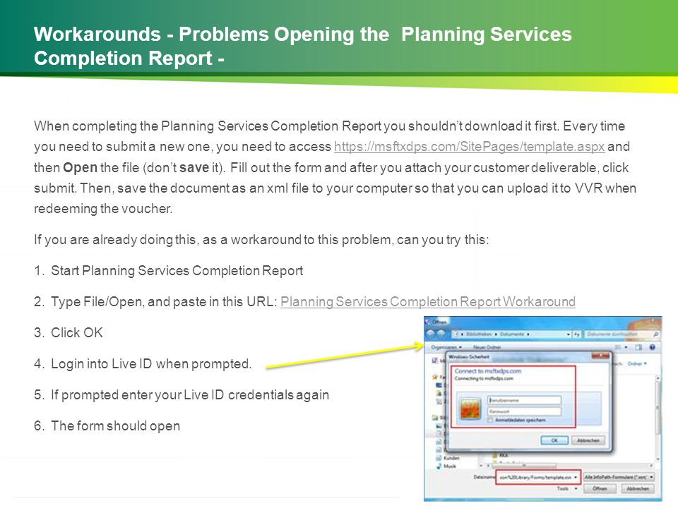 Workarounds - Problems Opening the Planning Services Completion Report -