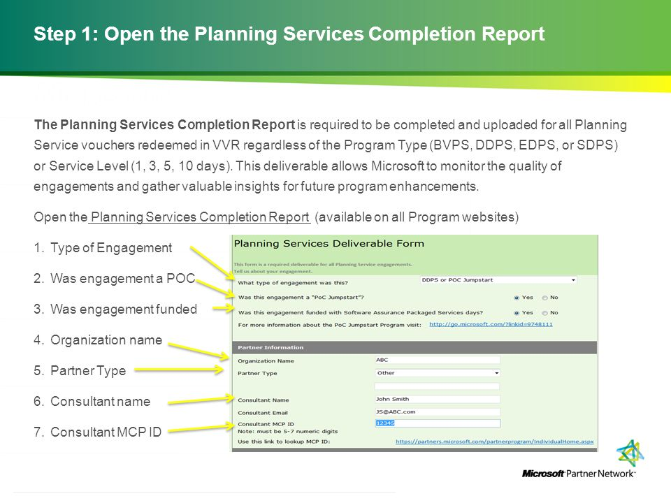 Step 1: Open the Planning Services Completion Report