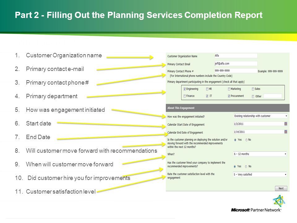 Part 2 - Filling Out the Planning Services Completion Report
