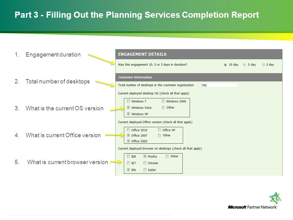Part 3 - Filling Out the Planning Services Completion Report