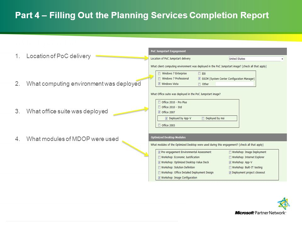 Part 4 – Filling Out the Planning Services Completion Report