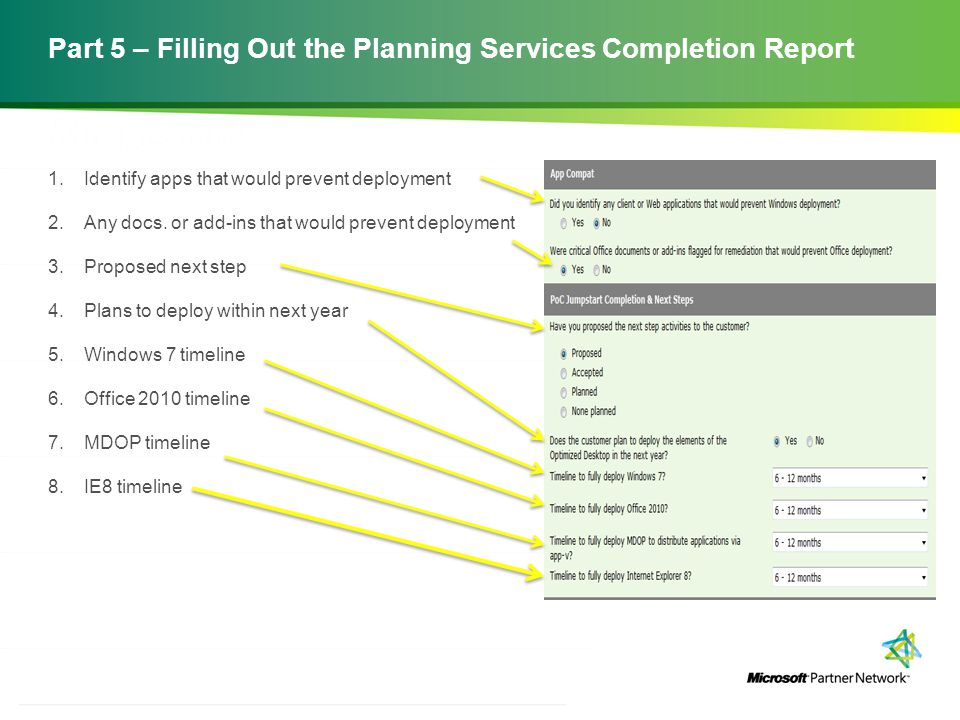 Part 5 – Filling Out the Planning Services Completion Report