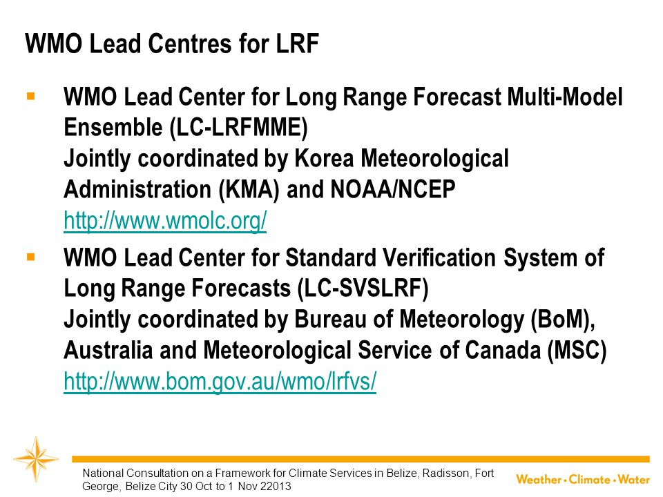 WMO Lead Centres for LRF