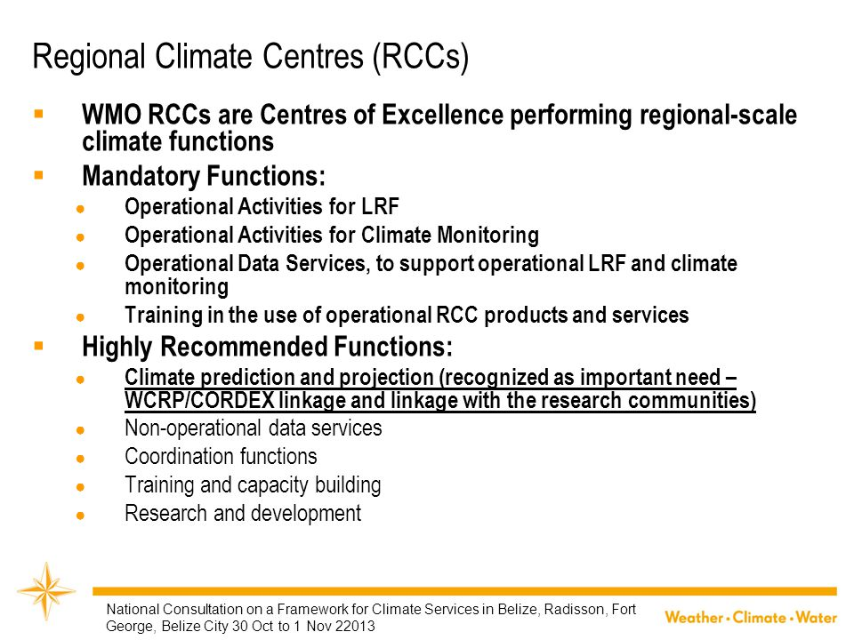 Regional Climate Centres (RCCs)