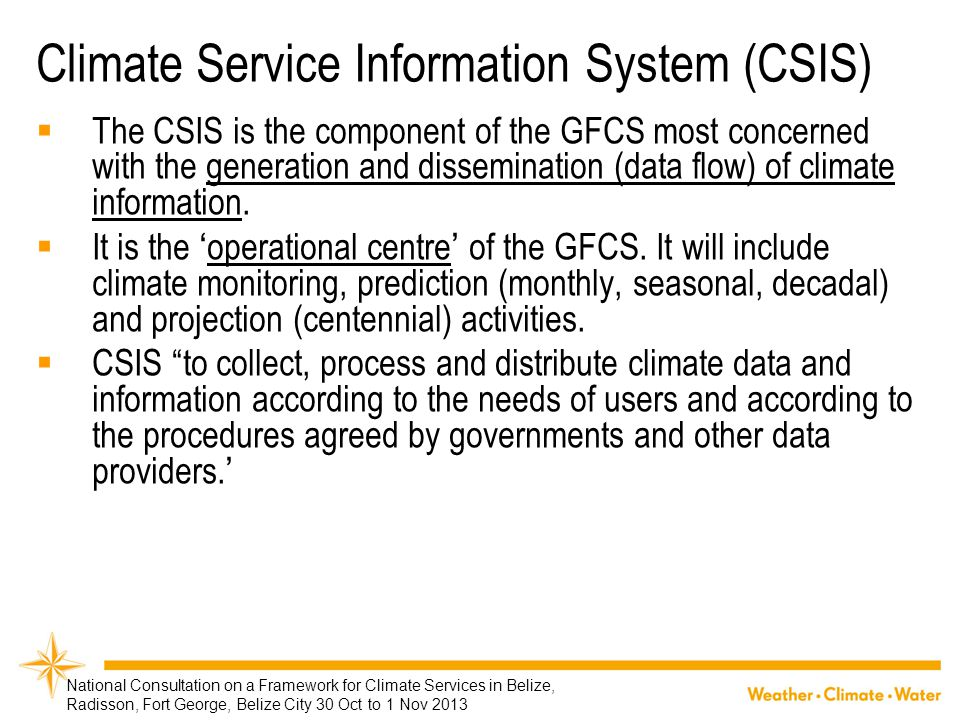 Climate Service Information System (CSIS)