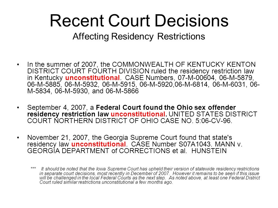 Recent Court Decisions Affecting Residency Restrictions