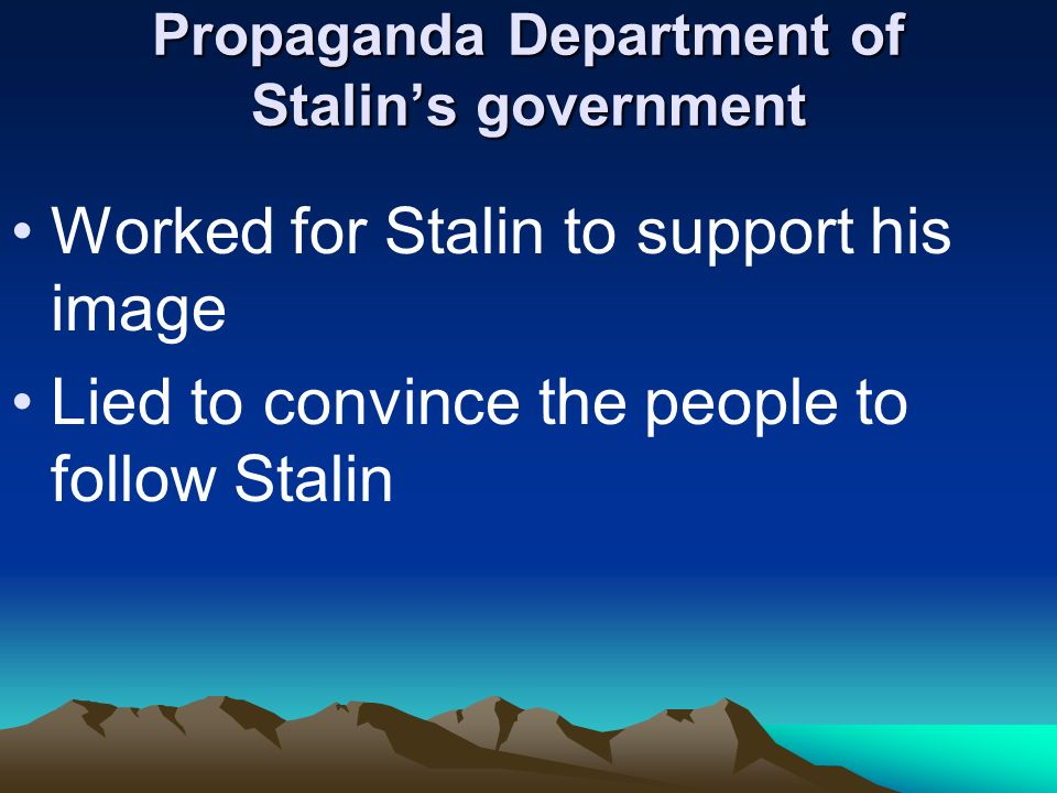 Propaganda Department of Stalin's government