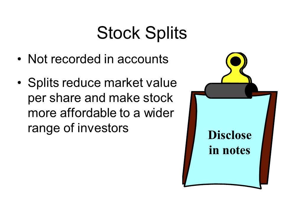 Stock Splits Not recorded in accounts