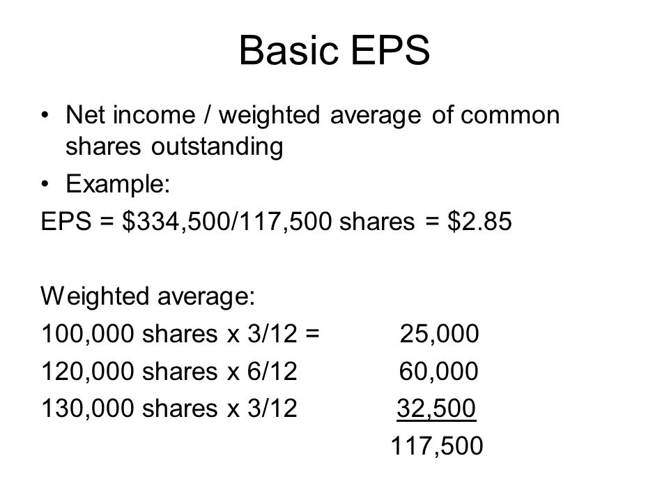 Basic EPS Net income / weighted average of common shares outstanding