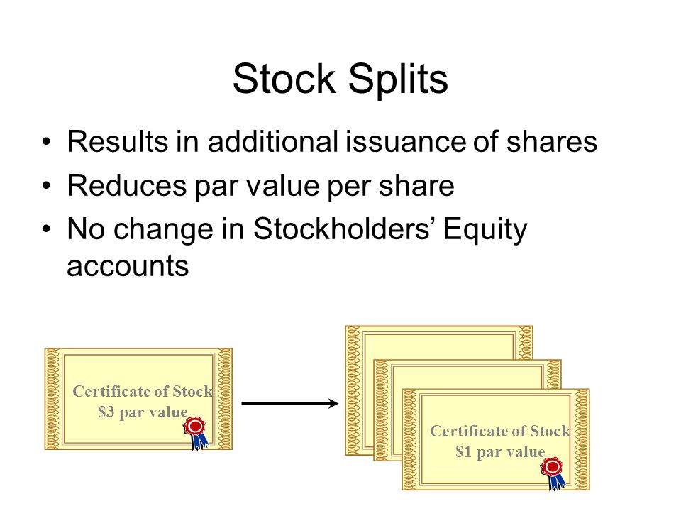 Stock Splits Results in additional issuance of shares