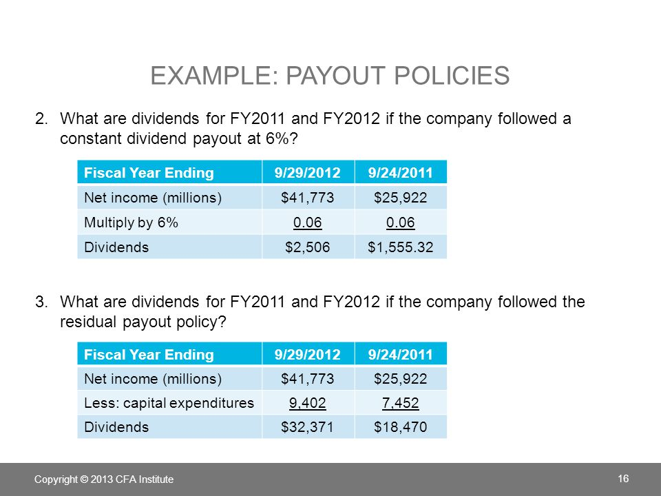 Example: Payout Policies