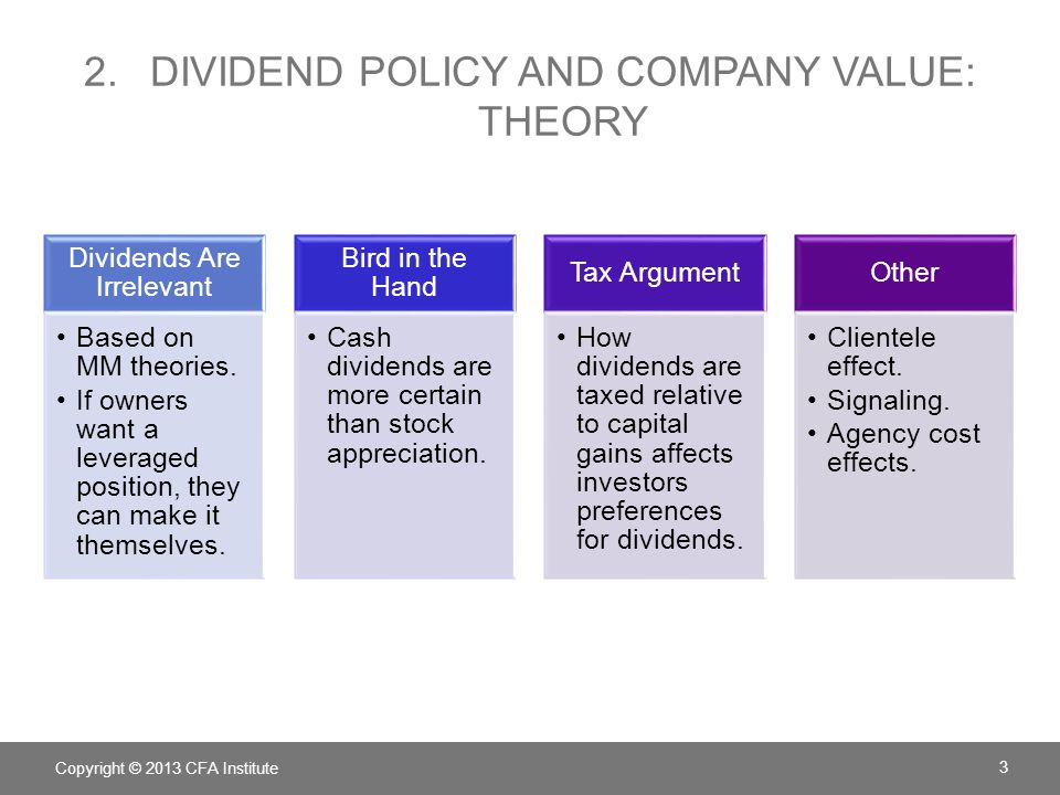 impact of dividend policy on companies' One of the jobs of a corporation's board of directors is to set dividend policy, which involves the timing and amount of dividends to pay academics are divided on the effects of dividend policy.