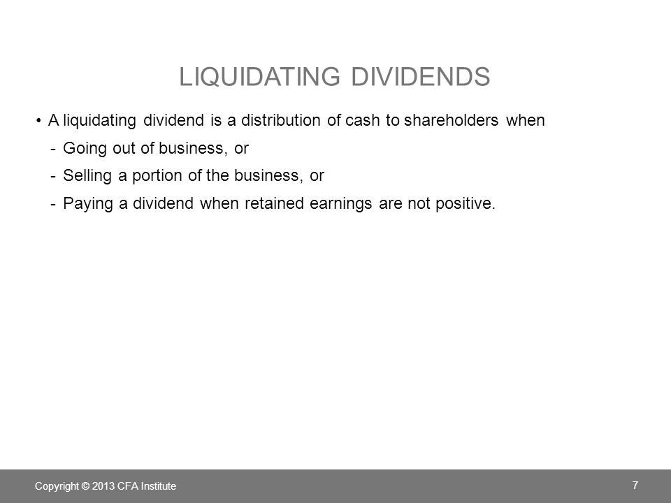 Liquidating dividends