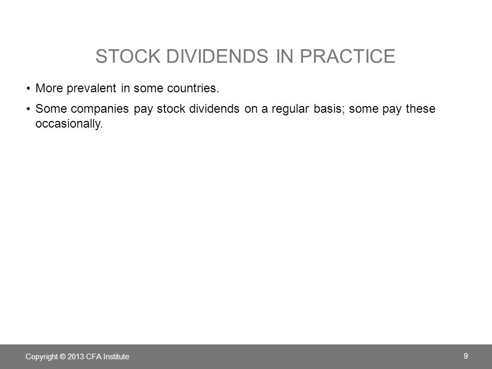Stock Dividends in Practice