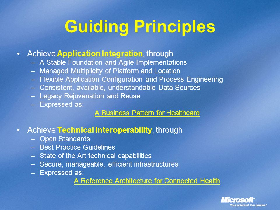 Guiding Principles Achieve Application Integration, through