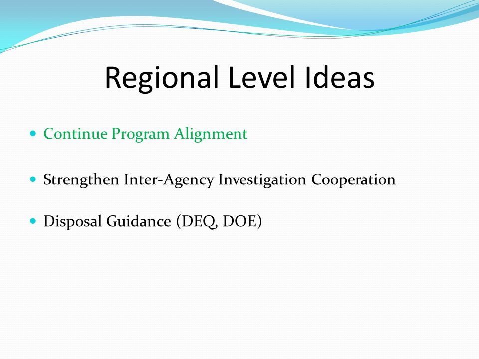 Regional Level Ideas Continue Program Alignment