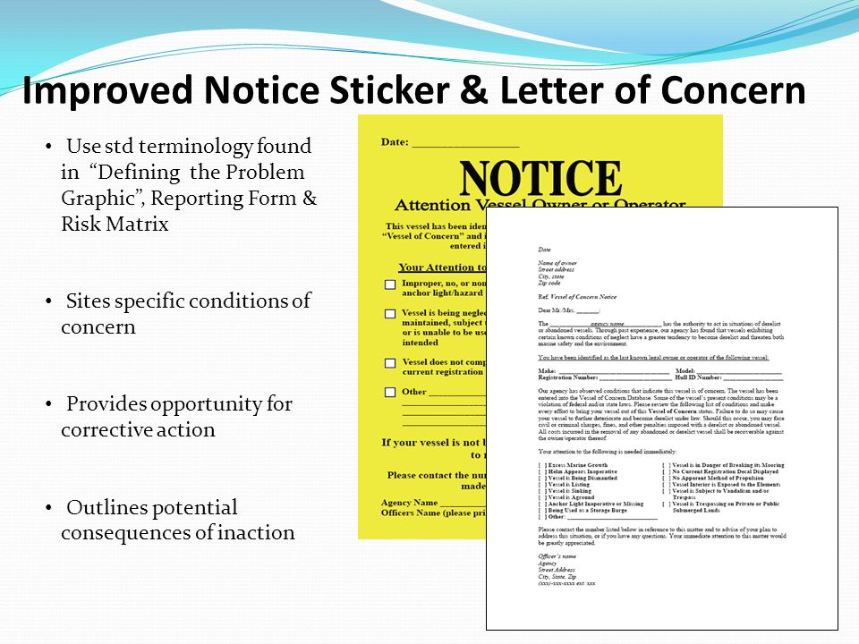 Improved Notice Sticker & Letter of Concern