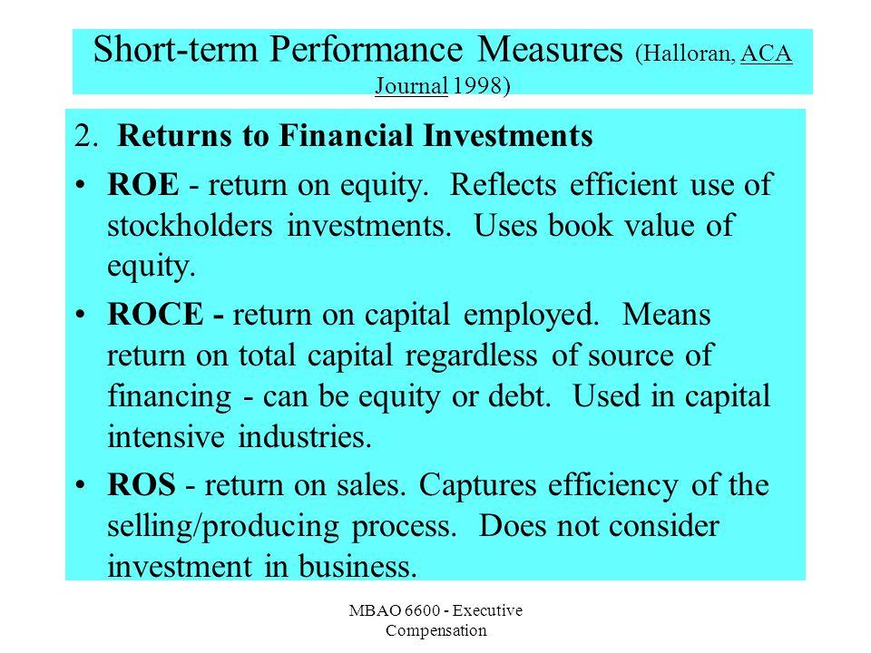Short-term Performance Measures (Halloran, ACA Journal 1998)