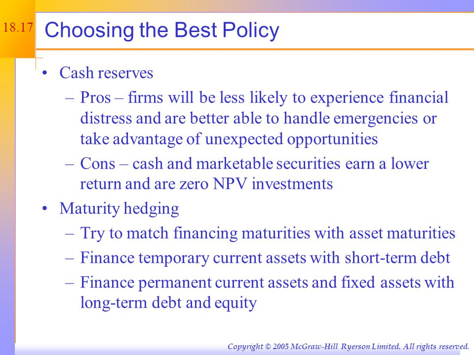 Choosing the Best Policy continued