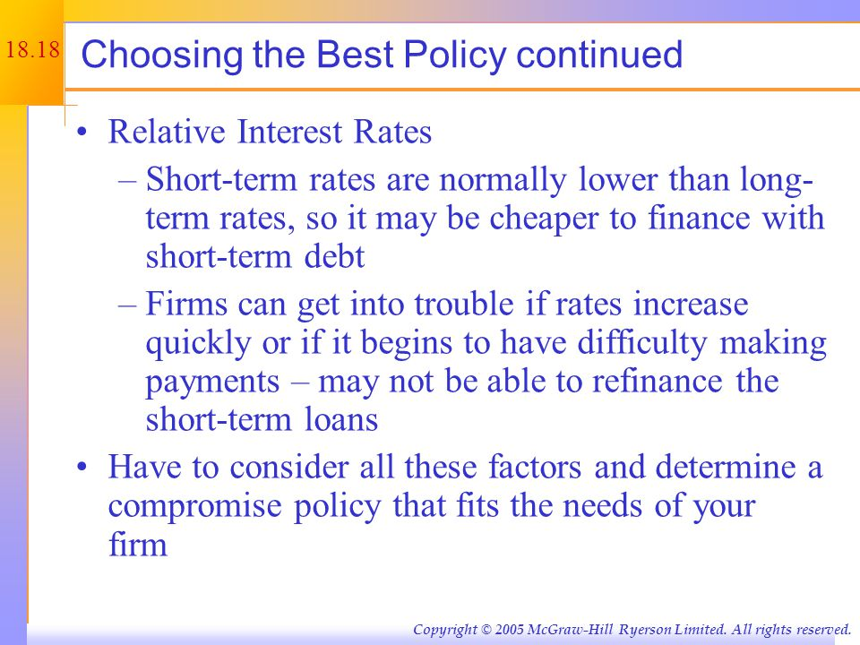 Figure 18.6 – A Compromise Financing Policy