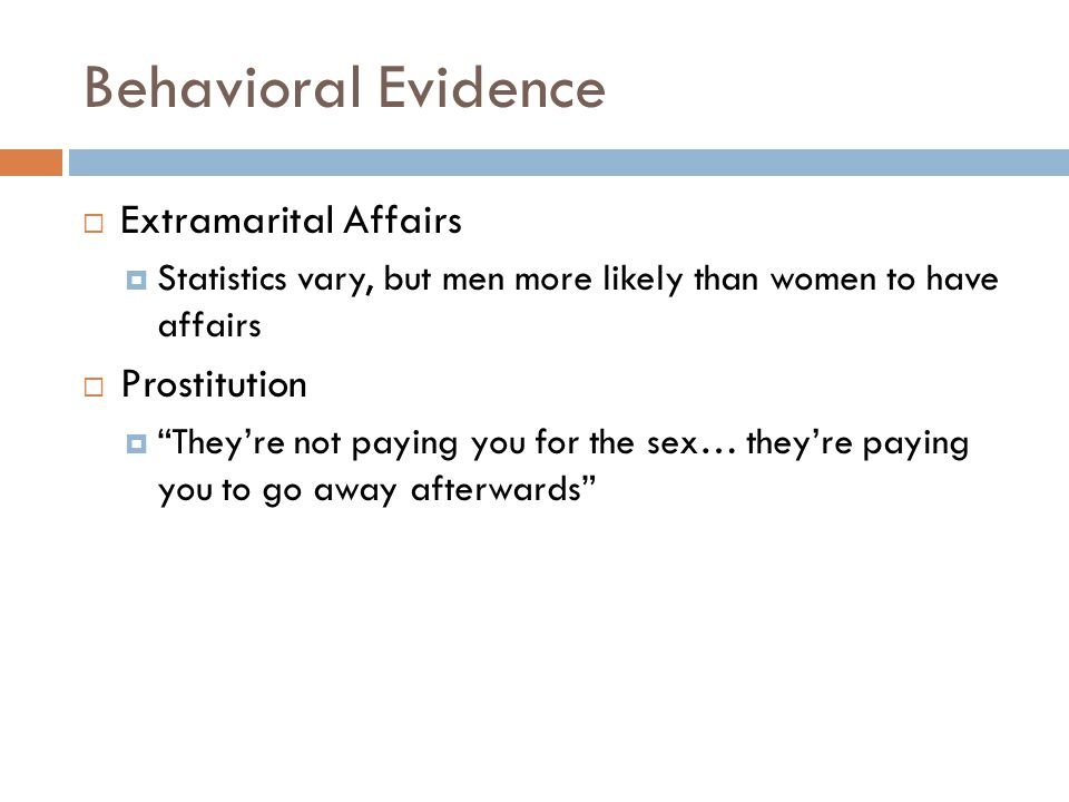 Behavioral Evidence Extramarital Affairs Prostitution