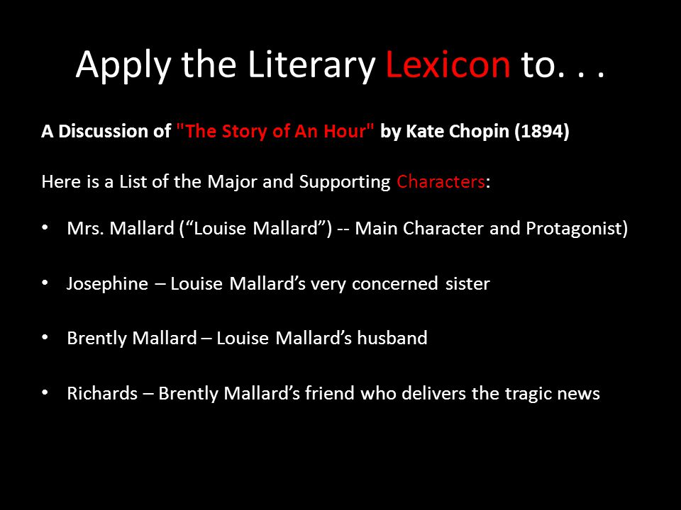 Apply the Literary Lexicon to. . .