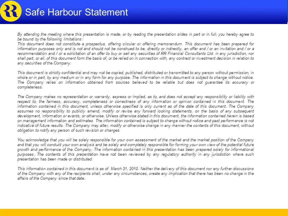 Safe Harbour Statement Safe Harbour Statement