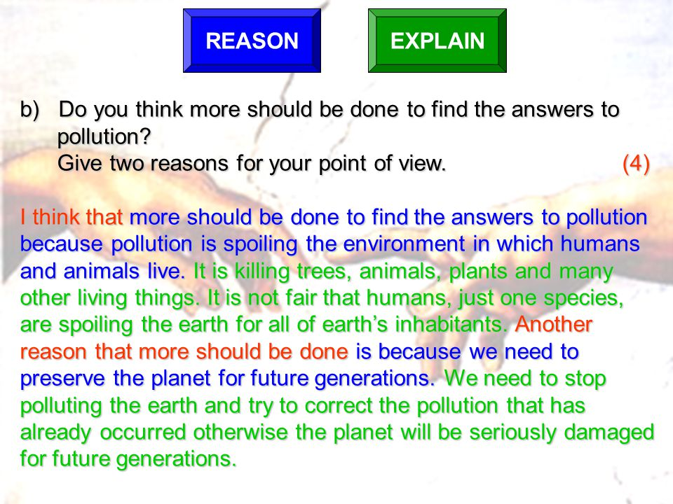 b) Do you think more should be done to find the answers to pollution
