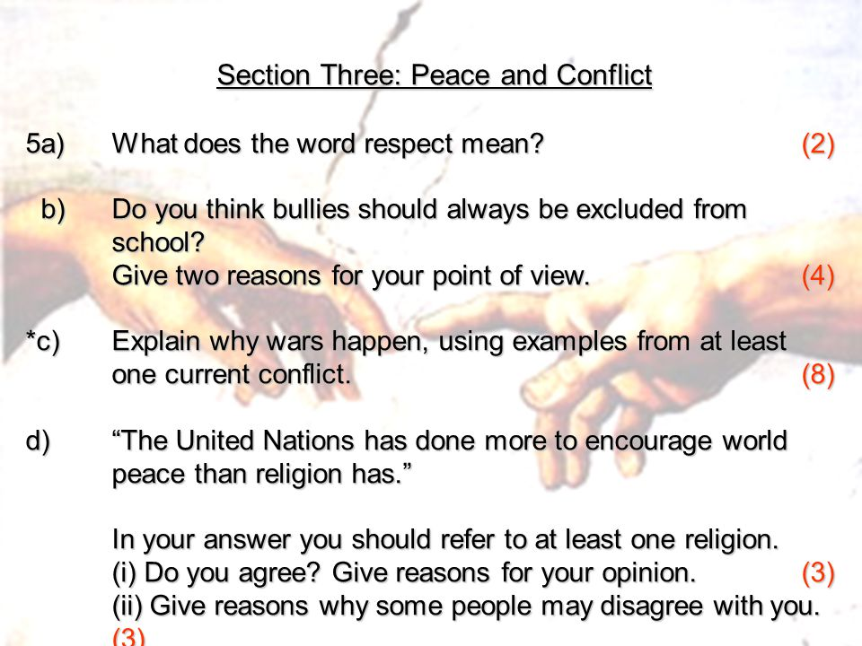 Section Three: Peace and Conflict