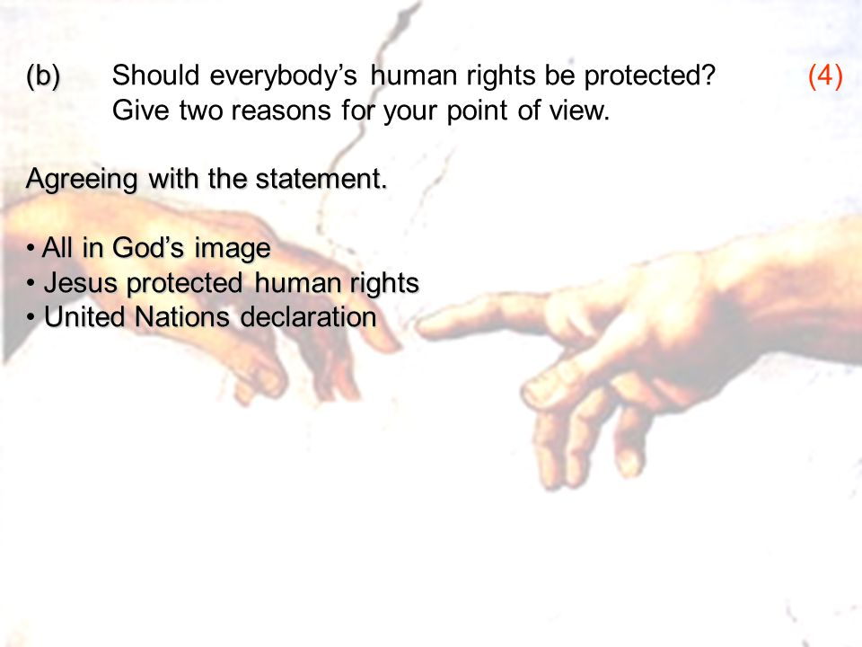 (b) Should everybody's human rights be protected (4)