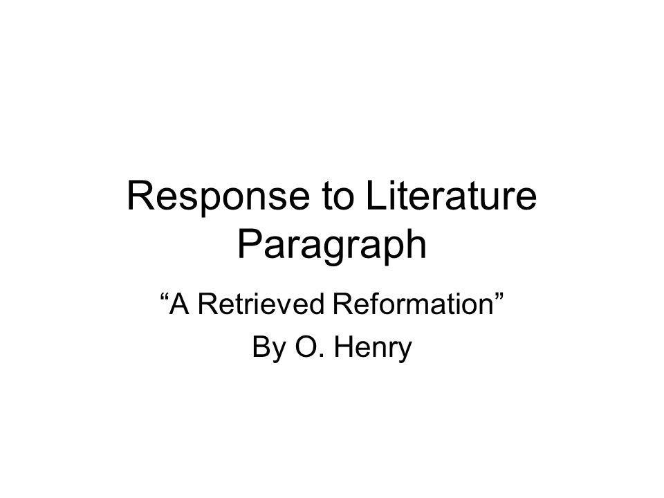 Response to Literature Paragraph