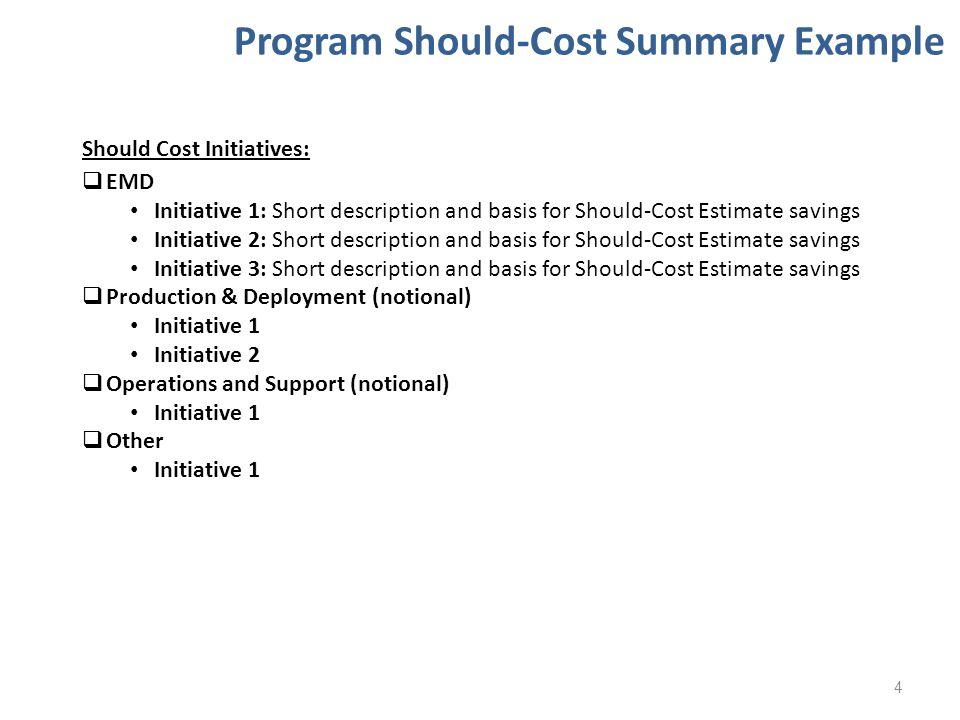 Program Should-Cost Summary Example