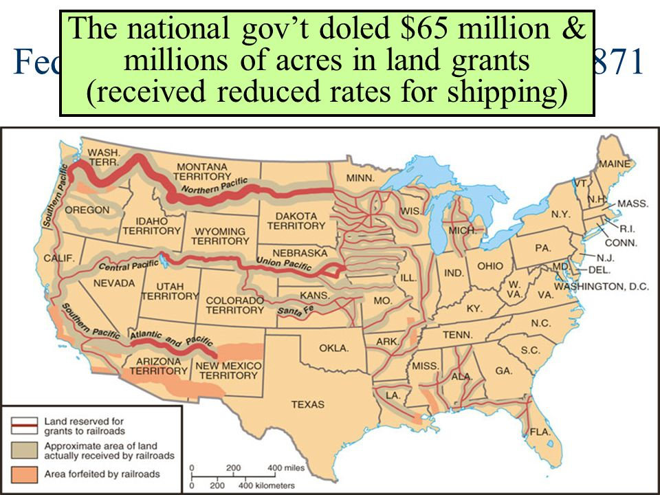 Federal Land Grants to Railroads by 1871