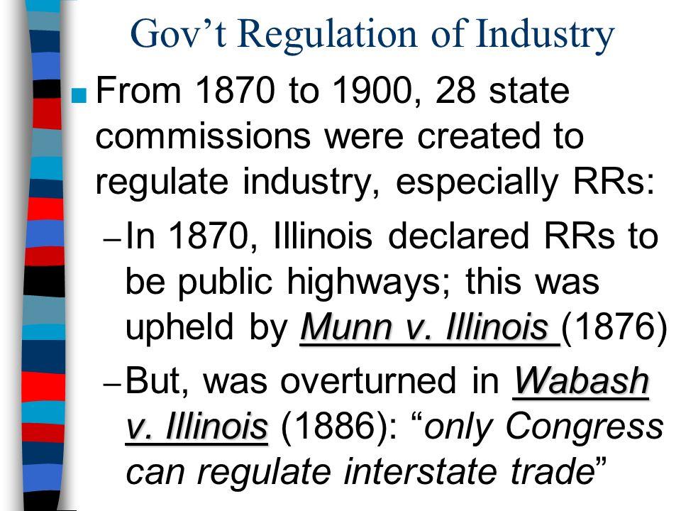 Gov't Regulation of Industry