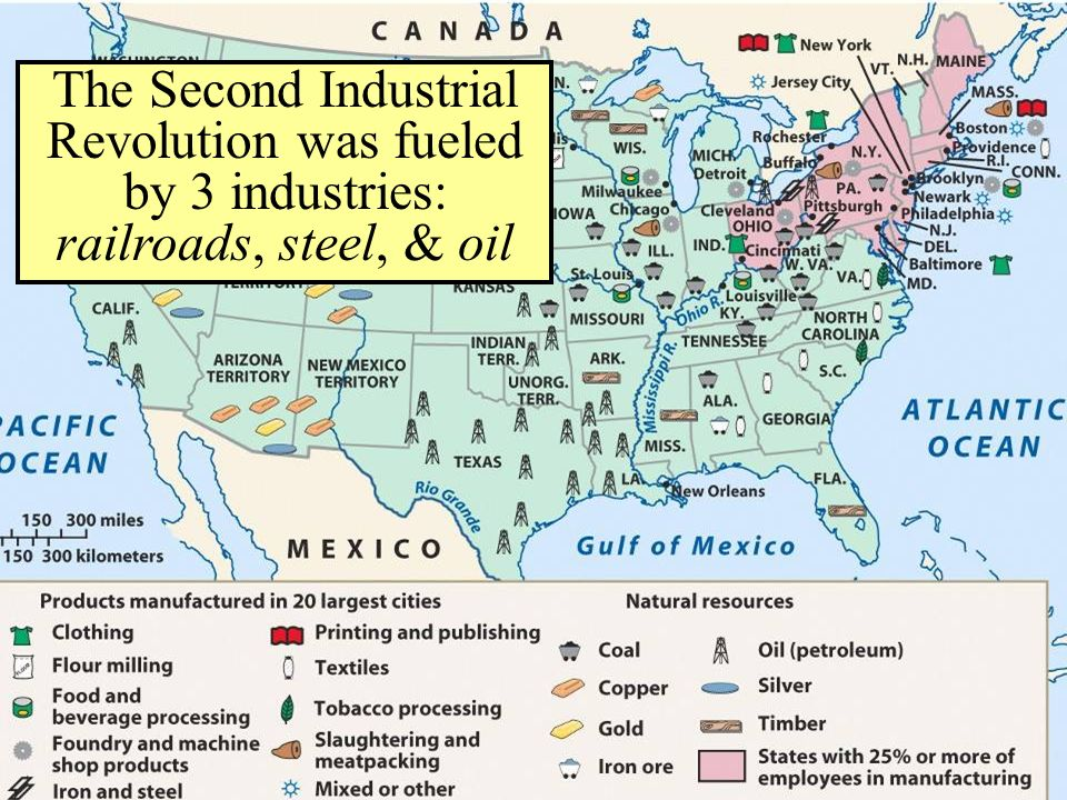 The Second Industrial Revolution was fueled by 3 industries: railroads, steel, & oil