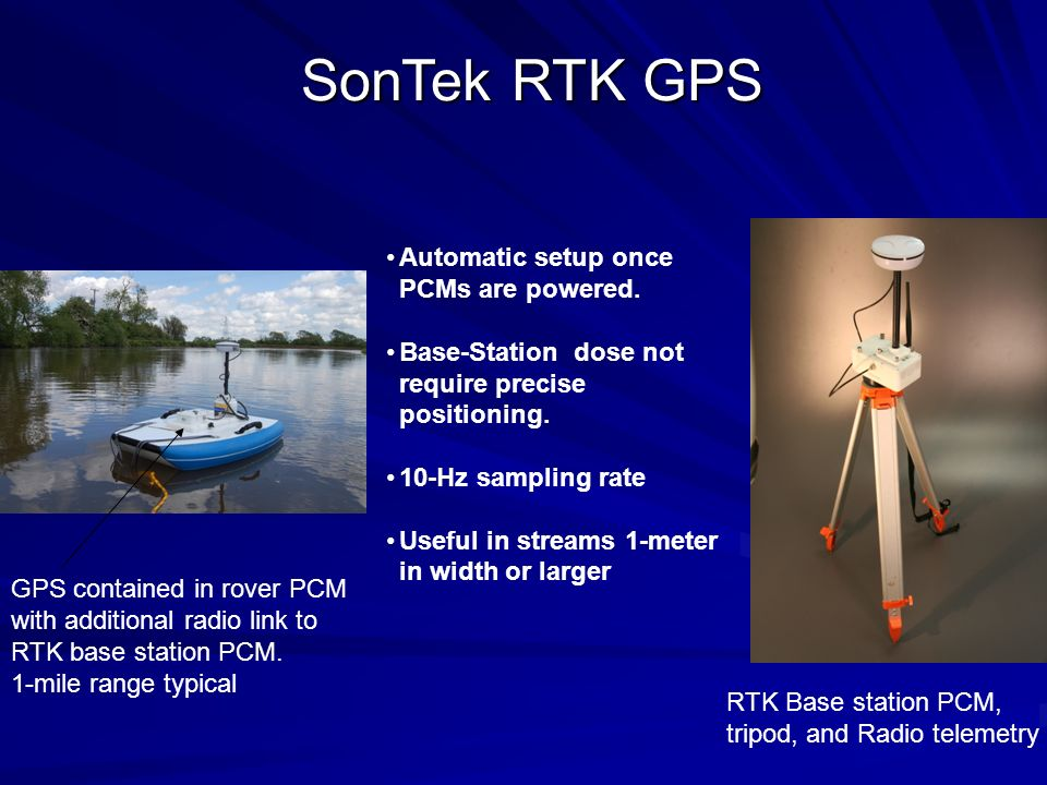 SonTek RTK GPS Automatic setup once PCMs are powered.