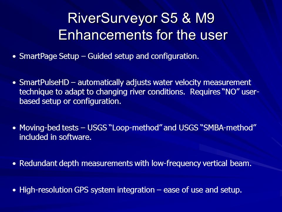 RiverSurveyor S5 & M9 Enhancements for the user