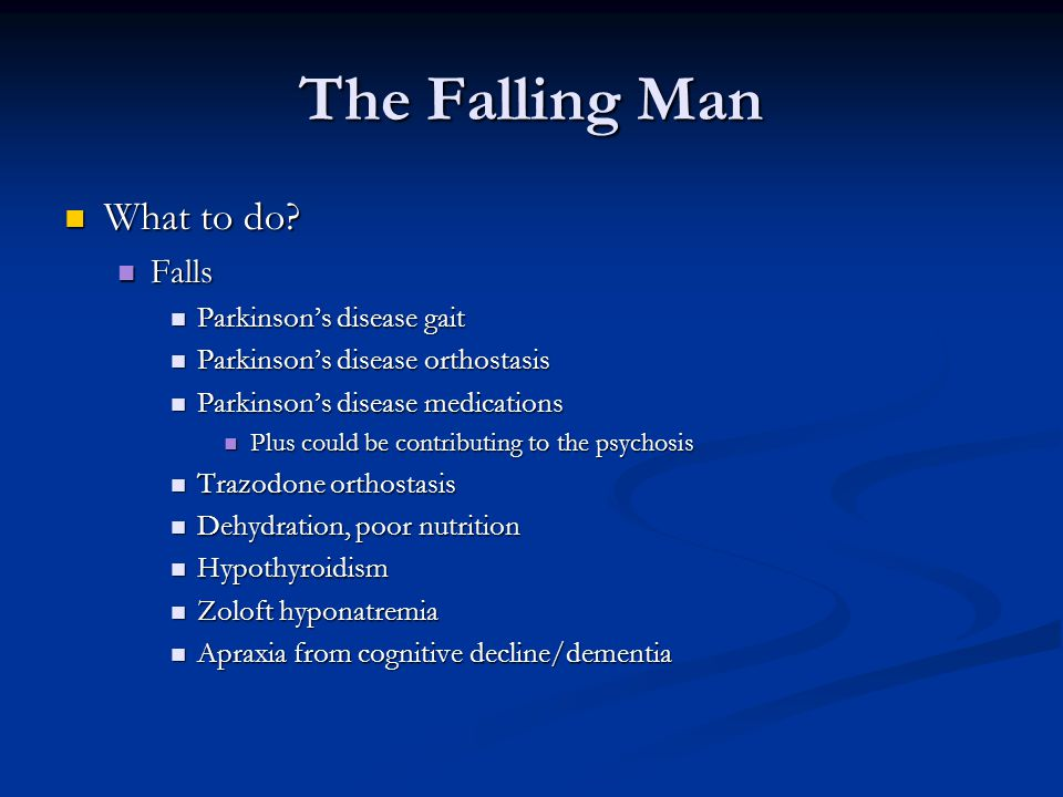 The Falling Man What to do Falls Parkinson's disease gait
