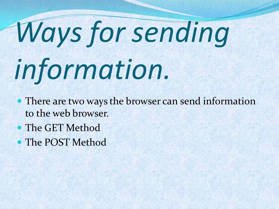 Ways for sending information.