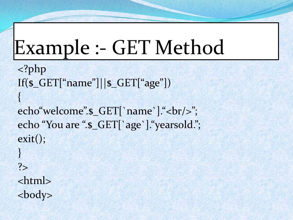 Example :- GET Method