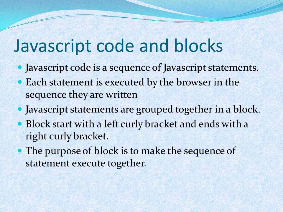 Javascript code and blocks