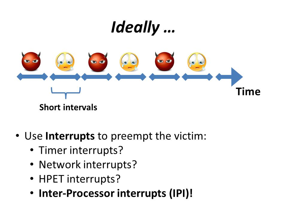 Ideally … Time Use Interrupts to preempt the victim: Timer interrupts