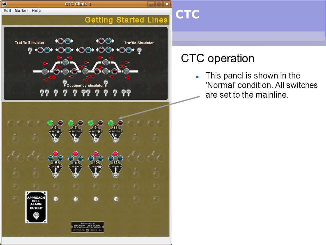 CTC CTC operation. This panel is shown in the Normal condition.