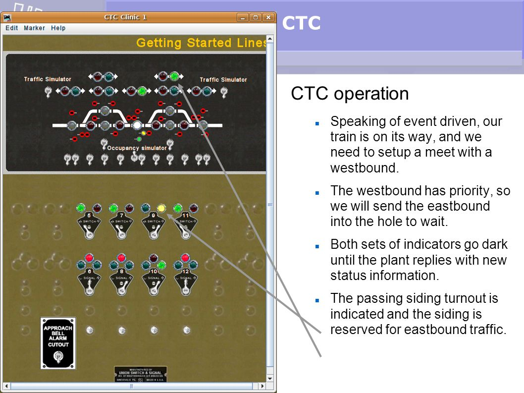 CTC CTC operation. Speaking of event driven, our train is on its way, and we need to setup a meet with a westbound.