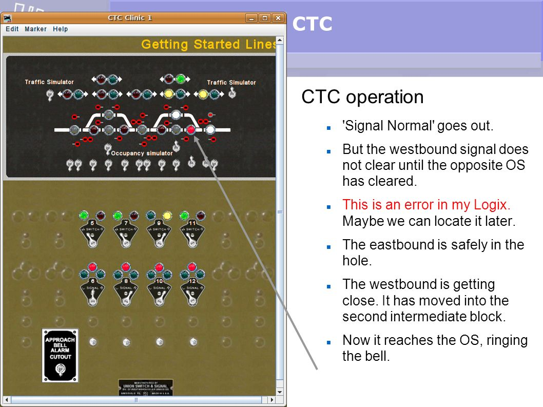 CTC CTC operation Signal Normal goes out.