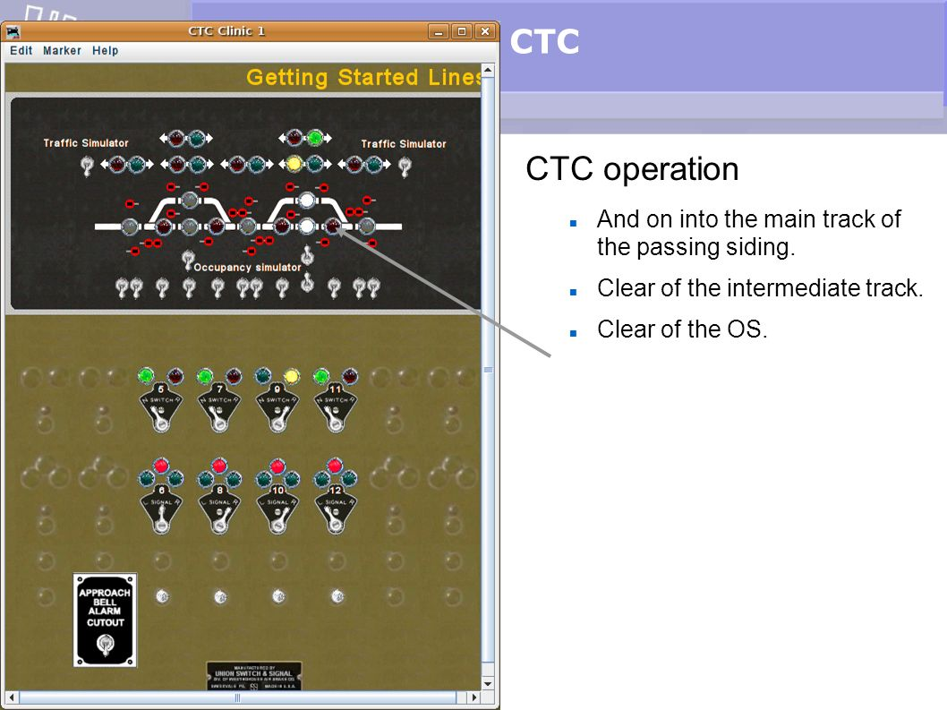 CTC CTC operation And on into the main track of the passing siding.