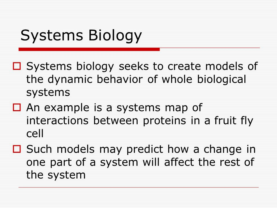 Systems Biology Systems biology seeks to create models of the dynamic behavior of whole biological systems.