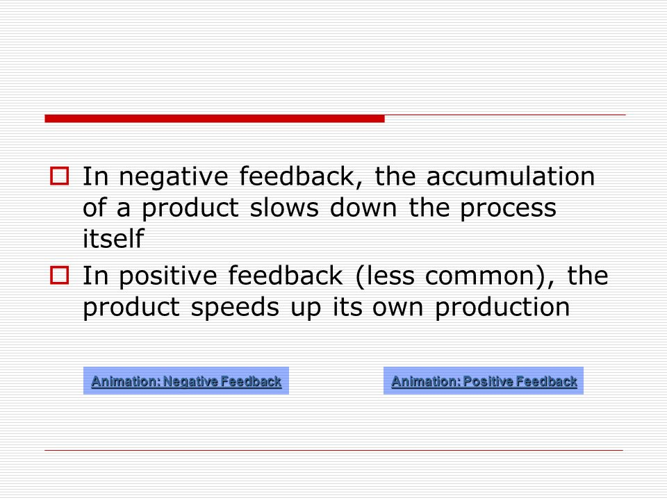 Animation: Negative Feedback Animation: Positive Feedback