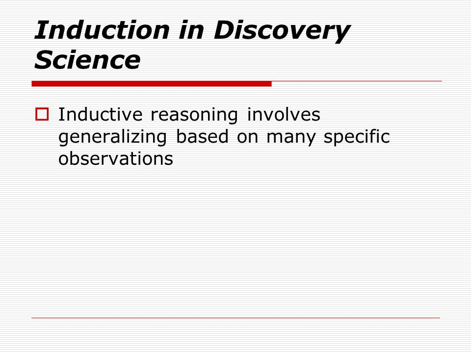 Induction in Discovery Science
